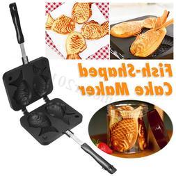 2 Cast Taiyaki Maker Japanese Fish-Shaped Waffle Pan Home Ca