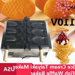2KW Electric 3pcs Fish Waffle Taiyaki Maker Machine Commerci