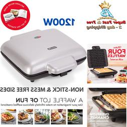 Large Belgian Waffle Maker Breakfast Paninis Non Stick Cookw