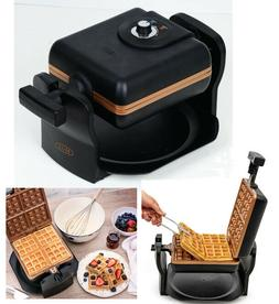 BELLA 4 Slice Rotating Black Belgian Waffle Maker, Square Sh