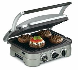 Cuisinart 5-in-1 Griddler, GR-4N, Silver/Black Dials Griddle