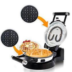 Automatic 360 Rotating Non Stick Double Belgian Waffle Maker