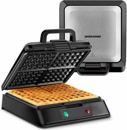 Belgian Waffle Maker, 4-Slice Square Stainless Steel Anti-Ov