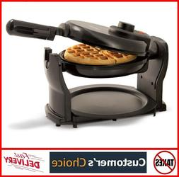 BELGIAN WAFFLE MAKER Rotating Non Stick Cook Round Waffles B