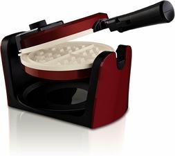 BELGIAN WAFFLE MAKER Rotating Non Stick Cook Round Waffles B