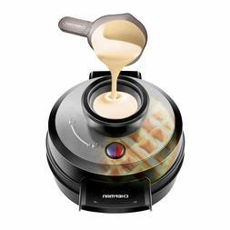 Chefman Belgian Waffle Maker, Round Waffle Iron for Mess-Fre