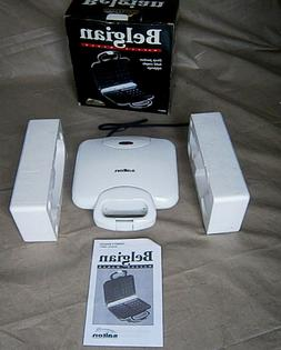 Salton Belgian Waffle Maker White Electric Non-Stick New