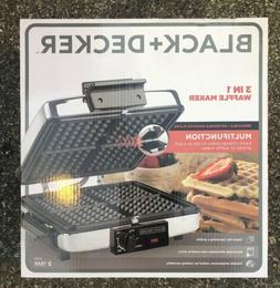 BLACK+DECKER 3-in-1 Waffle Maker w/ Nonstick Reversible Plat