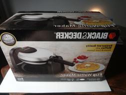BLACK+DECKER Flip Waffle Maker, Silver, WM1404S NIB