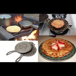 Cast Iron Waffle Maker Pan Belgian Large Indoor Outdoor Camp