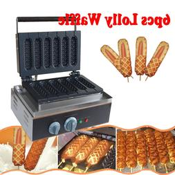 Commercial Nonstick Electric 6pcs Waffle Dog Maker Lolly Waf
