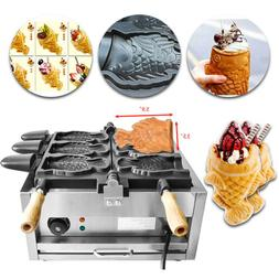 Commercial Nonstick Electric Waffle Maker Taiyaki 3pc Fish S