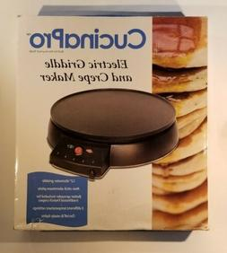 """Crepe Maker and Non-Stick 12"""" Griddle- Electric Crepe Pan wi"""