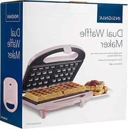 Insignia Dual Waffle Maker -PINK Nonstick Grill Belgian Waff