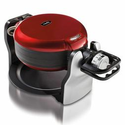 Oster DuraCeramic Non-Stick Double Flip Waffle Maker Red CKS