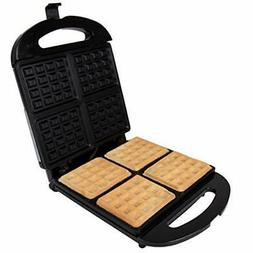 Four Slice Waffle Maker - 4 Square Non-Stick Stainless Steel