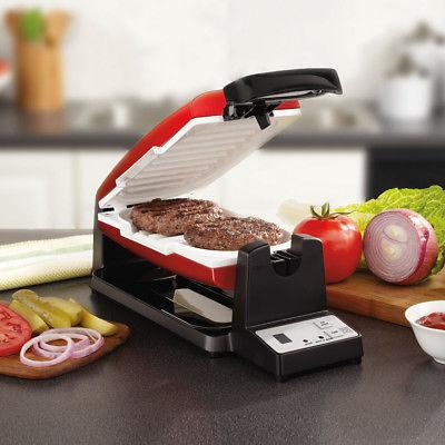 Oster 7-Minute Grill with DuraCeramic Coating, Red/White CKS