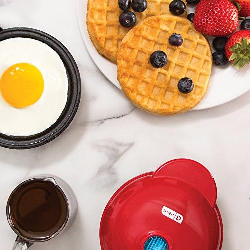 Dash Mini Electric Individual Pancakes, & other go Breakfast, & Snacks Indicator + Red