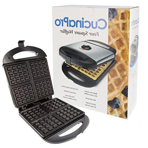 Four Square Waffle Maker- Non-stick Waffler Iron w Adjustabl