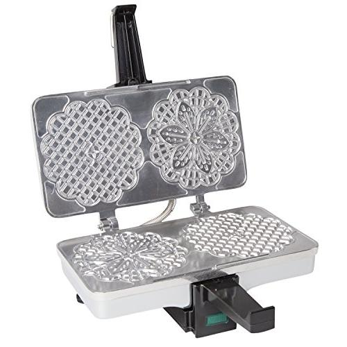 Pizzelle Maker- Polished Pizzelle Baker Press Makes Two 5-Inch Once-