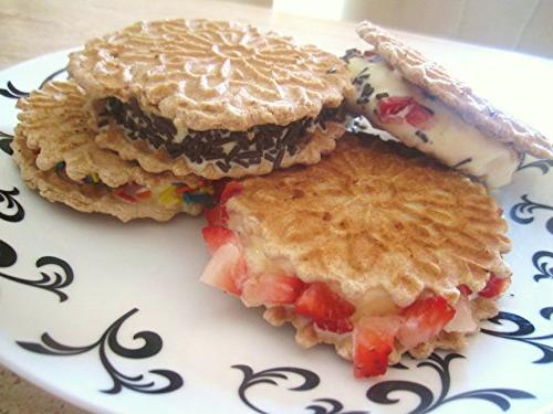 Pizzelle Polished Pizzelle Baker Press Makes Two 5-Inch Cookies Once- Recipes Included