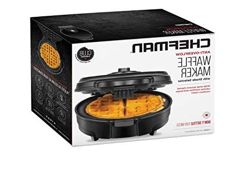 Chefman Anti-Overflow Belgian Maker w/Shade Mess Free Moat, Round Waffle Iron w/Nonstick & Handle, Measuring Cup Included,