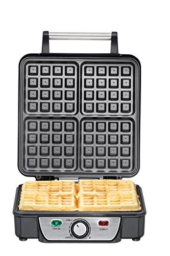 Chefman Waffle Cooking Surface, Cool Handle, Adjustable Control, Power/Ready Waffle Cookbook Included RJ04-4P