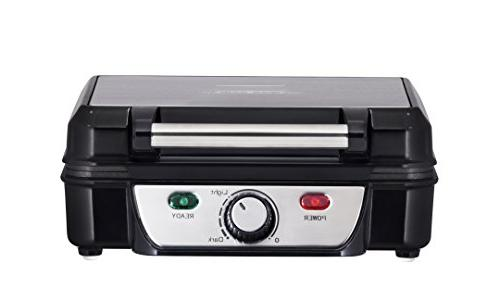 Chefman Belgian Waffle 4-Slice, Stainless Steel Cooking Surface, Power/Ready Lights, Waffle Cookbook Included