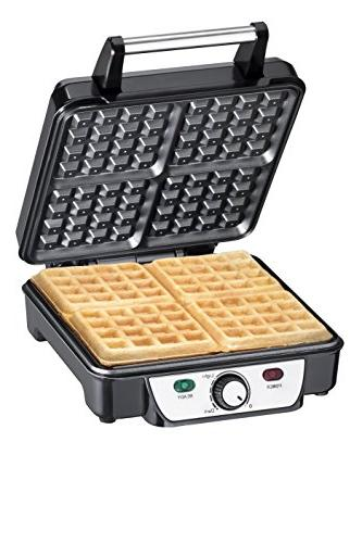 Chefman Waffle 4-Slice, Non-Stick Cooking Surface, Handle, Adjustable Browning Power/Ready Included RJ04-4P