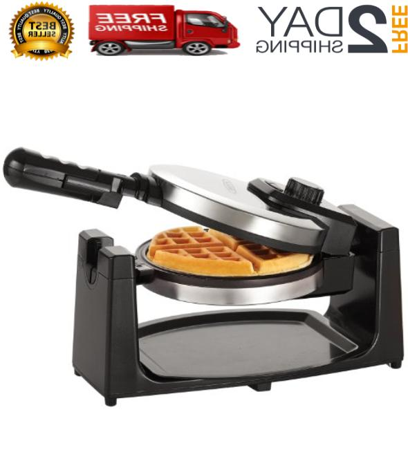 BELGIAN WAFFLE MAKER Classic Rotating Handle Non Stick Round
