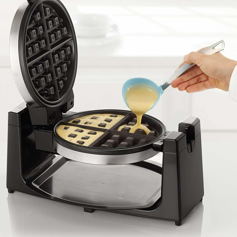 BELGIAN WAFFLE MAKER Classic Rotating Round Waffles Breakfast
