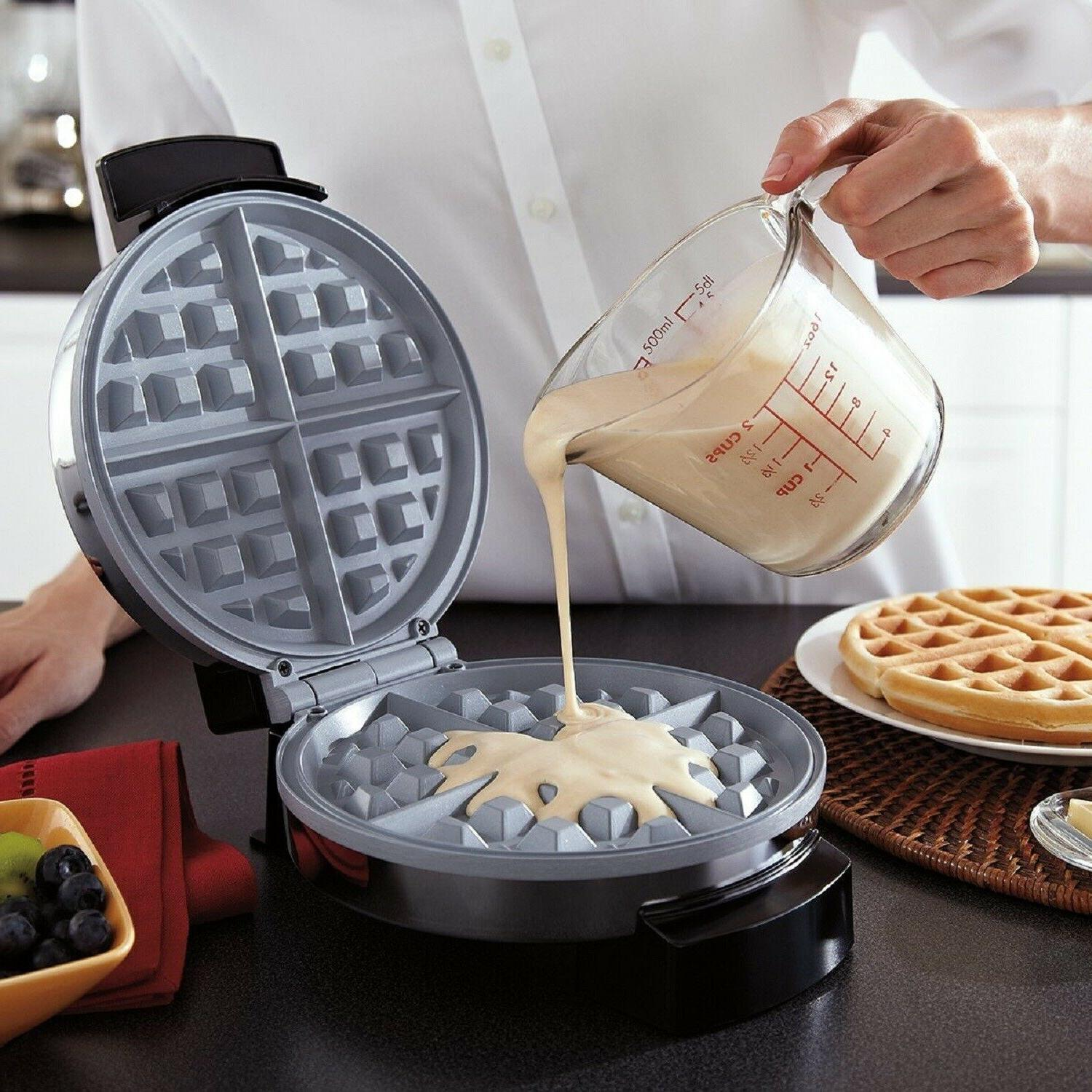BELGIAN Round Breakfast Non Stick Kitchen Waffles Iron