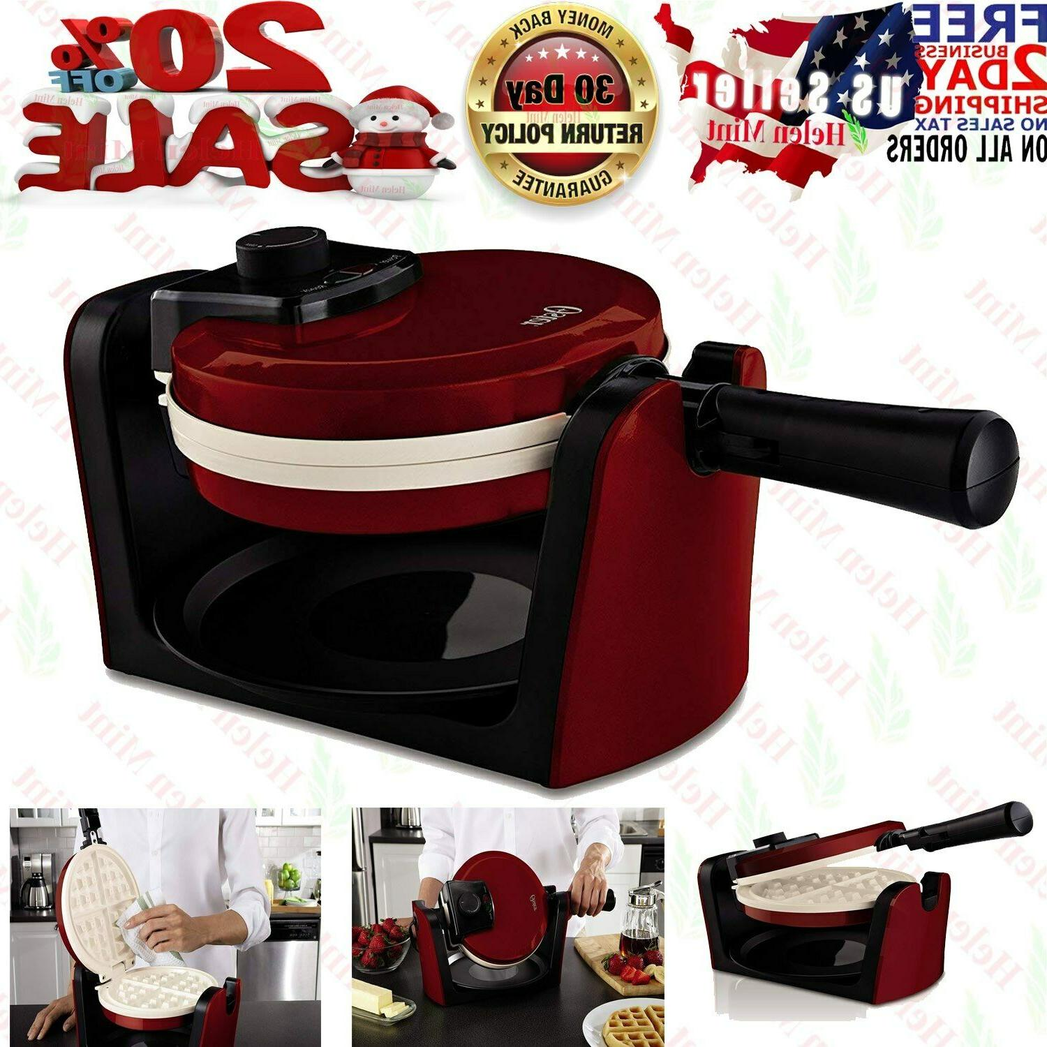 belgian waffle maker rotating non stick cook