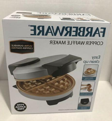 belgian waffle maker round copper nonstick plates