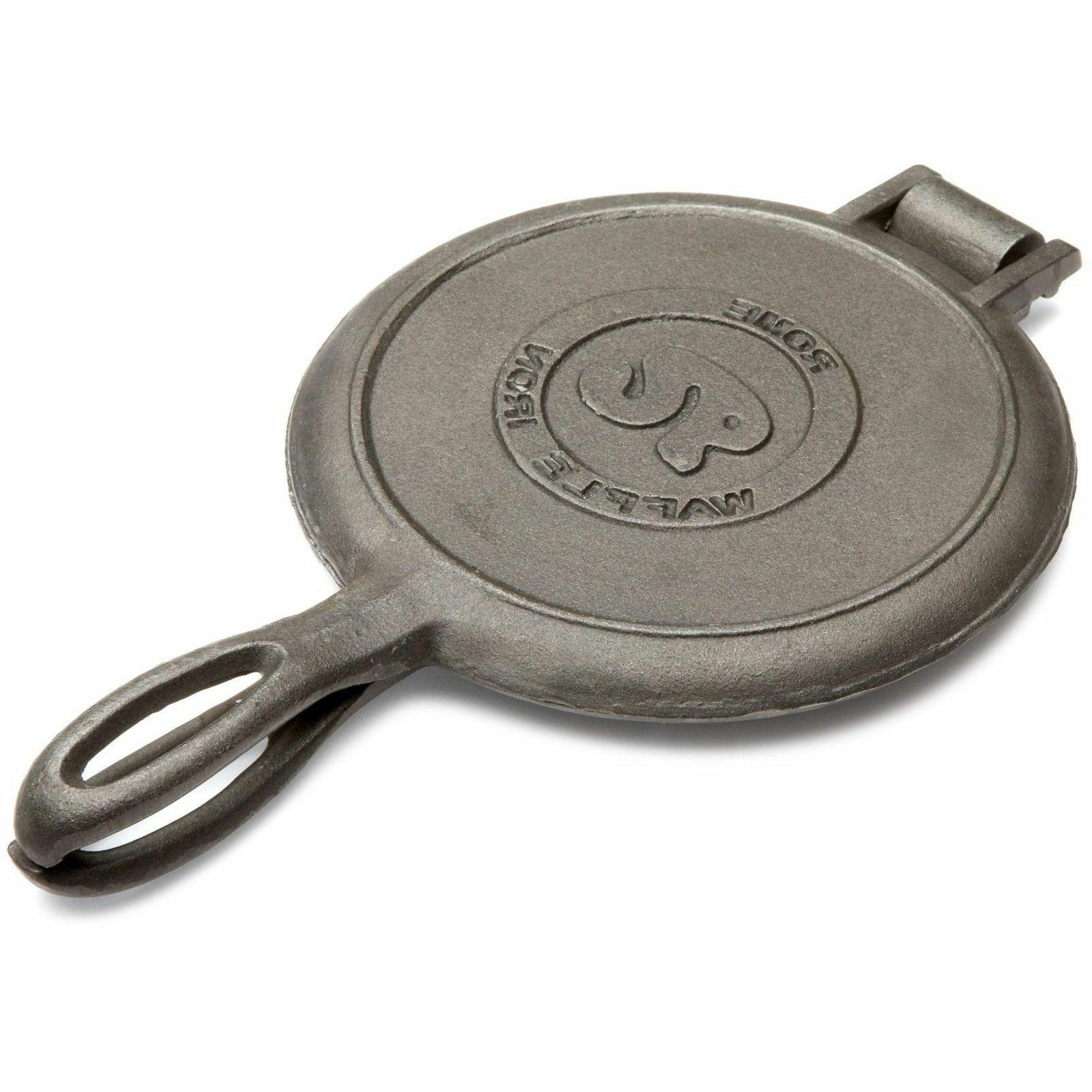 Cast Iron Waffle Maker Pan Outdoor Slice