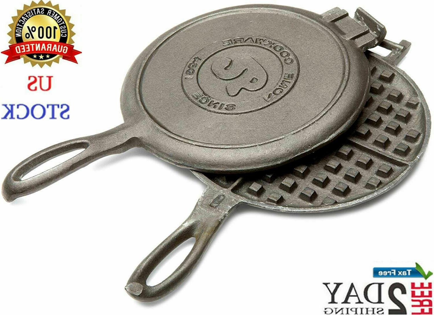 Cast Iron Waffle Maker Pan Belgian Large Indoor Outdoor Camp
