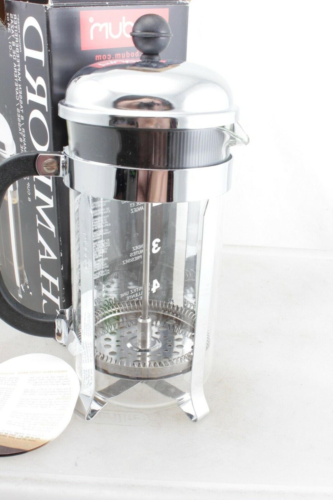 Bodum Chambord Chrome French Press Coffee Maker 8 NIB