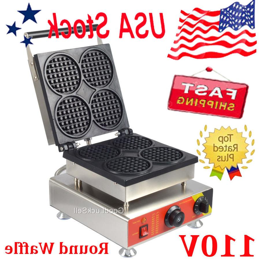 commercial nonstick electric 4pcs mini round waffle