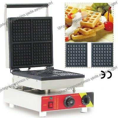 Commercial Nonstick Electric 4pcs Square Belgian Waffle Mach