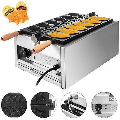Commercial Nonstick Electric 6pcs Fish Waffle Taiyaki Machin