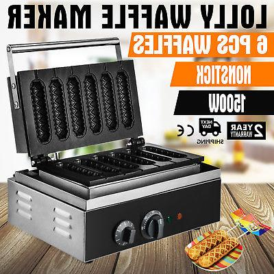 commercial nonstick electric 6pcs waffle dog maker