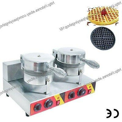 commercial nonstick electric dual round belgian waffle