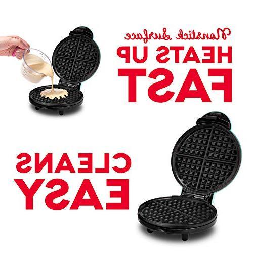 "Dash DEWM8100BK 8"" Waffle Machine Individual Servings, Paninis, or Snacks, Clean, Non-Stick Sides,"