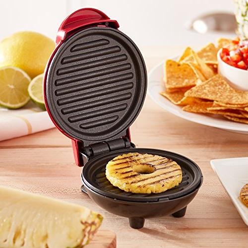 Dash Portable Grill Panini for Gourmet Burgers, Other On Breakfast, or Snacks with Recipe - Red