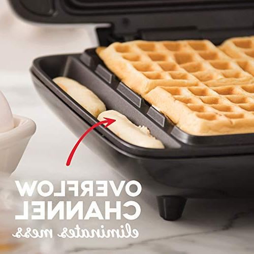 DASH No Mess Waffle Iron 1200W Machine Browns, Lunch, & Easy Mess Free Sides Silver
