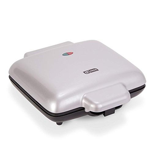 DASH Belgian Waffle 1200W + Maker Machine For Waffles, Browns, or Any Lunch, Snacks Easy Non-Stick + Mess Sides - Silver