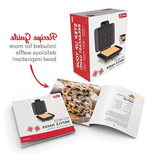 DASH Mess Belgian Waffle Waffle 1200W Machine Browns, or Breakfast, Lunch, & Snacks Easy Clean, + Mess Silver