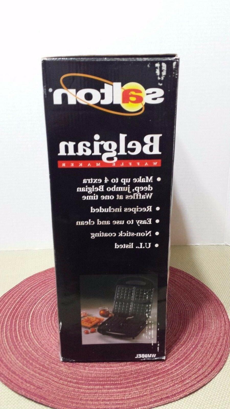 SALTON ELECTRIC BELGIAN WAFFLE MAKER BLACK ~NEW