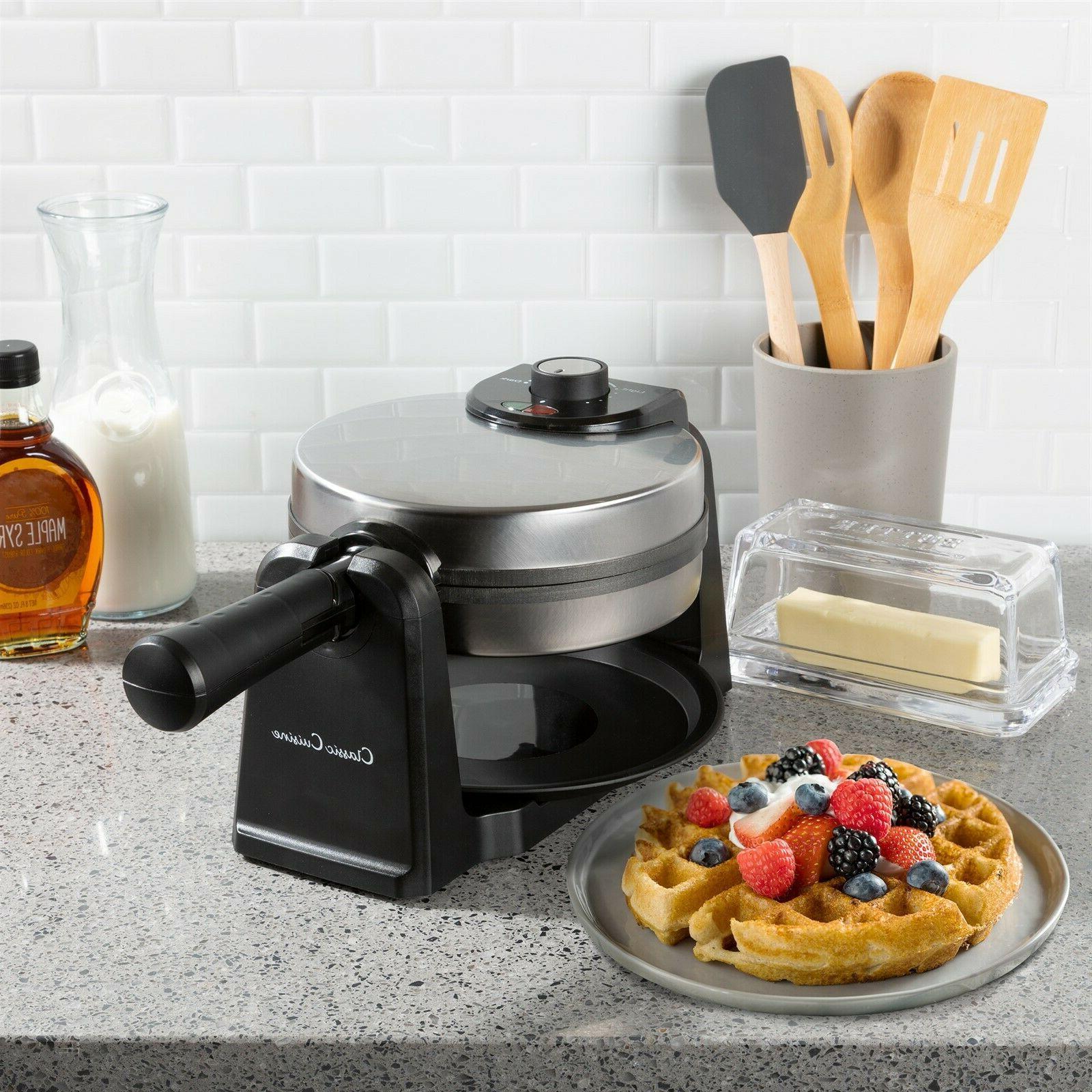 Electric Waffle Iron 180 Pan Folding Handle Easy Storage