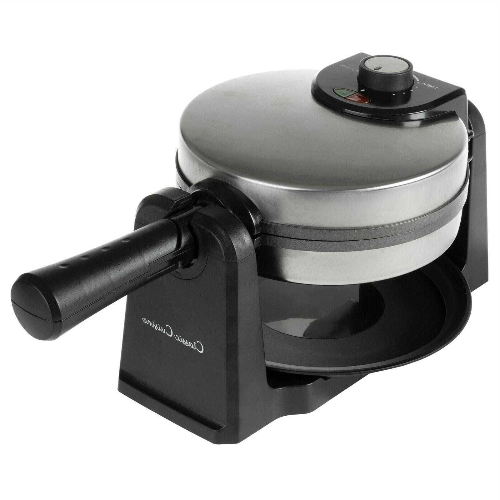 Electric Waffle Iron Nonstick 180 Flip Drip Pan Folding Easy